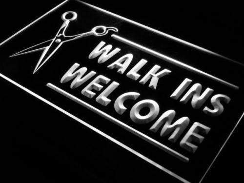 Hair Cut Walk Ins Welcome LED Neon Light Sign - Way Up Gifts