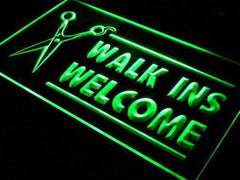 Hair Cut Walk Ins Welcome LED Neon Light Sign