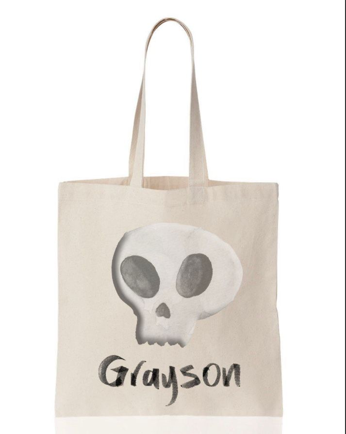 Personalized Skull Trick or Treat Halloween Canvas Tote - Way Up Gifts