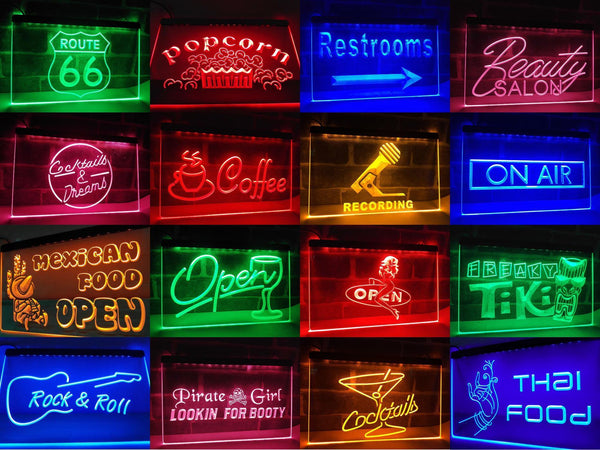 Hamburgers Burgers Restaurant Open LED Neon Light Sign - Way Up Gifts