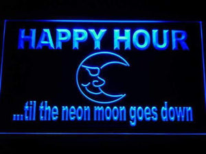 Happy Hour Blue Moon Neon Sign (LED)-Way Up Gifts