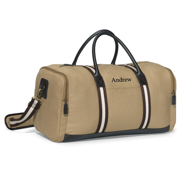 Personalized Heavy Tan Canvas Duffel Bag - Way Up Gifts