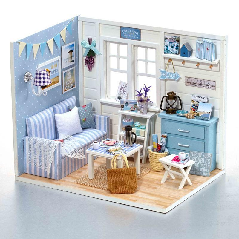 Diy Dollhouse Furniture Intended Dollhouse Furniture Home Diy Kit Beach Cottage Way Up Gifts