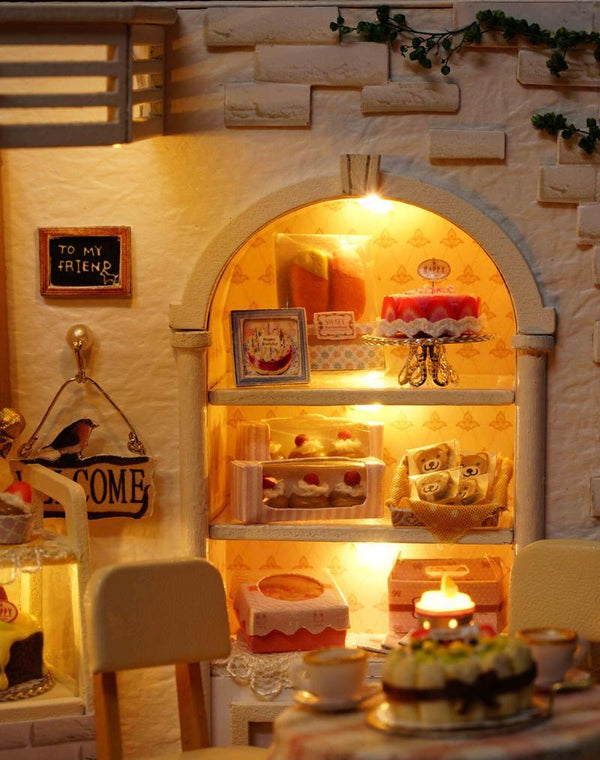 Homemade DIY Dollhouse Kit to Build Wooden Miniature Furniture House Craft - Cake Shop