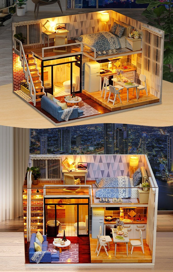 Homemade DIY Dollhouse Kit to Build Wooden Miniature Furniture House Craft - Dream Loft