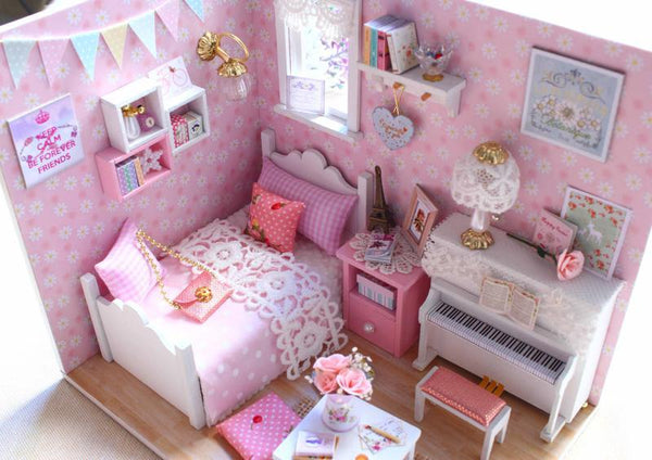 Homemade DIY Dollhouse Kit to Build Wooden Miniature Furniture House Craft - Princess Room