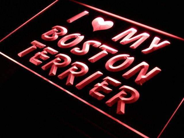 I Love My Boston Terrier LED Neon Light Sign - Way Up Gifts