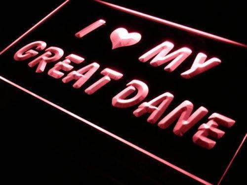 I Love My Great Dane LED Neon Light Sign - Way Up Gifts