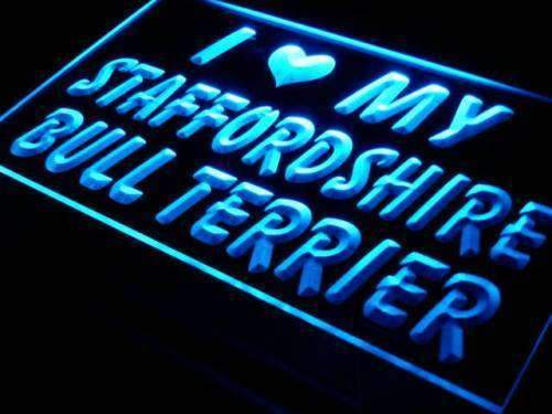 I Love My Staffordshire Bull Terrier LED Neon Light Sign - Way Up Gifts