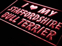 I Love My Staffordshire Bull Terrier LED Neon Light Sign