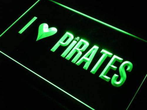 I Love Pirates LED Neon Light Sign - Way Up Gifts