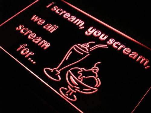 I Scream You Scream Ice Cream LED Neon Light Sign - Way Up Gifts