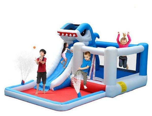 Inflatable Water Slide Bounce House Playground Shark Themed