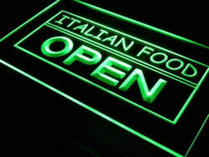 Italian Food Open Neon Sign (LED)-Way Up Gifts