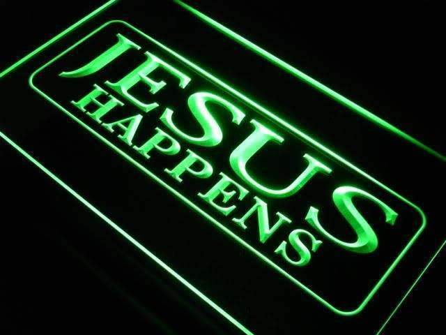 Jesus Happens LED Neon Light Sign - Way Up Gifts