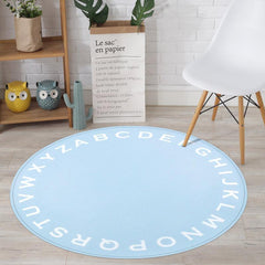 Kids Blue Alphabet Round Area Rug