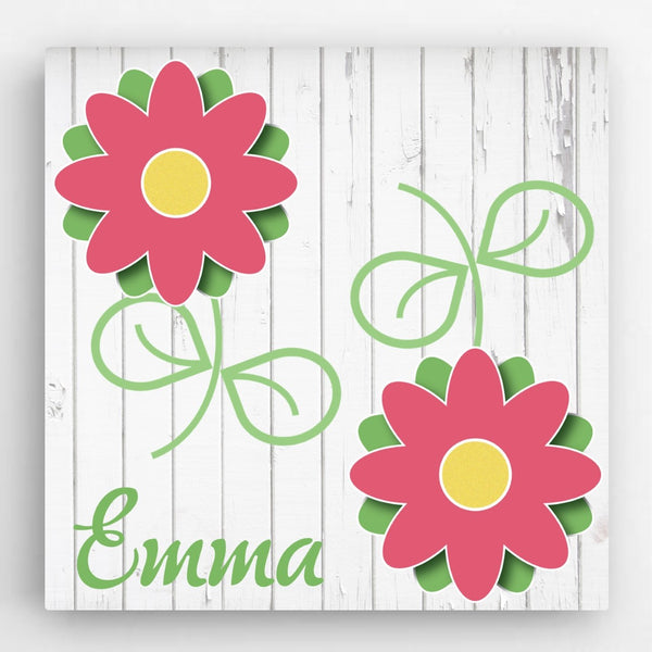 Personalized Flowers Kids Canvas Sign - Way Up Gifts