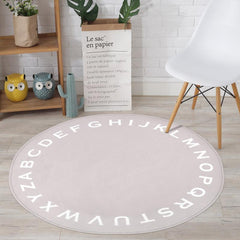 Kids Gray Alphabet Round Area Rug