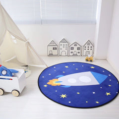 Kids Rocket Ship Round Area Rug 47""