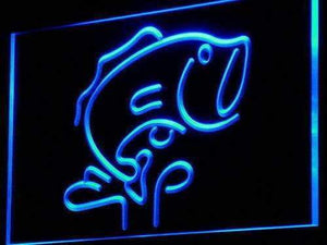 Large Mouth Bass Fish Neon Sign (LED)-Way Up Gifts