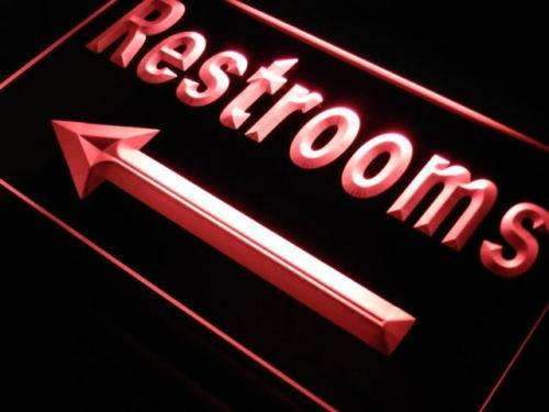 Left Arrow Restrooms LED Neon Light Sign - Way Up Gifts