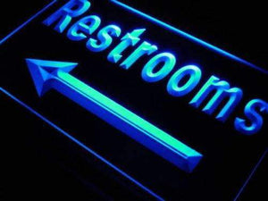 Left Arrow Restrooms Neon Sign (LED)-Way Up Gifts