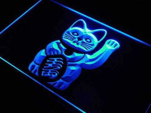 Maneki Neko Lucky Cat Charm LED Neon Light Sign - Way Up Gifts