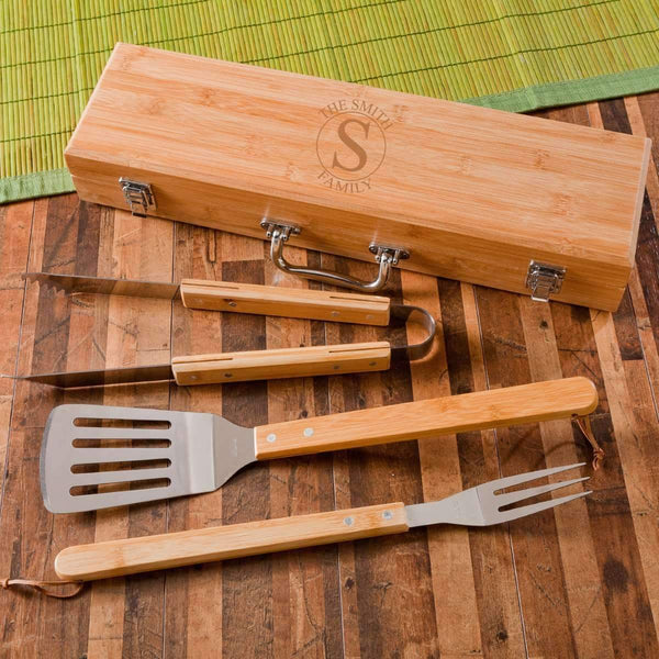 Monogrammed BBQ Grill Accessories | Utensils Set with Case - Way Up Gifts
