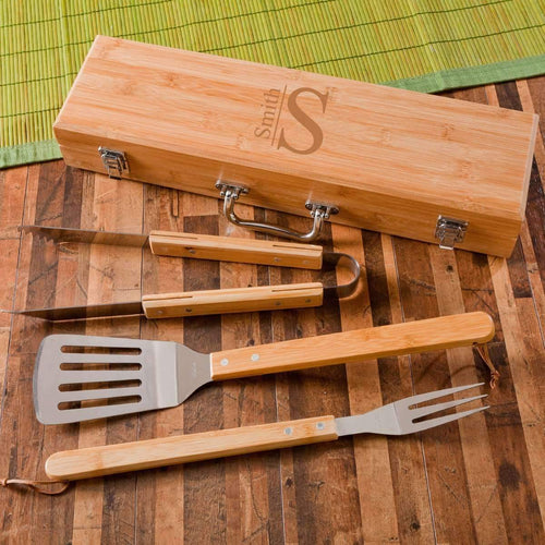 Monogrammed BBQ Grill Accessories | Utensils Set with Case