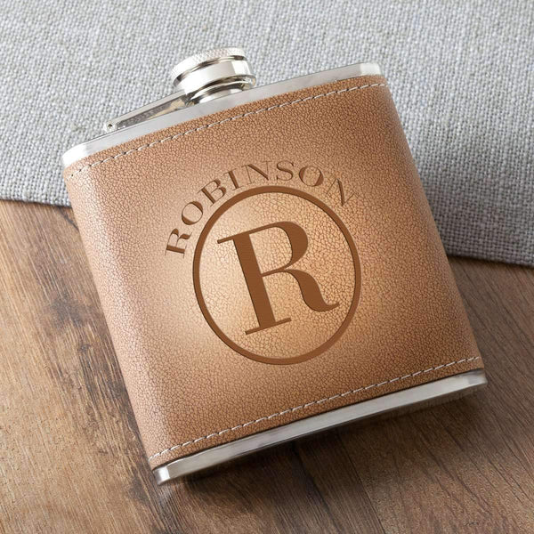 Monogrammed 6 oz Hide Stitched Hip Flask Circle Personalized Gifts - Way Up Gifts