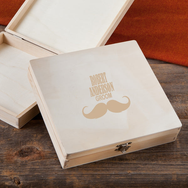 Engraved Wood Stash Box Mustache Groom Personalized Gifts - Way Up Gifts