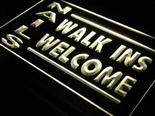 Nail Salon Walk Ins Welcome LED Neon Light Sign - Way Up Gifts