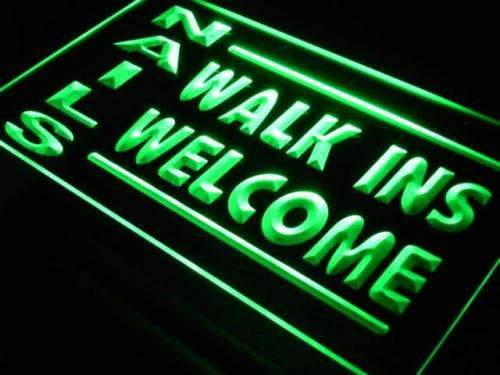Nail Salon Walk Ins Welcome LED Neon Light Sign  Business > LED Signs > Barber & Salon Neon Signs - Way Up Gifts
