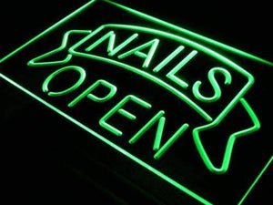 Nails Open Neon Sign (LED)-Way Up Gifts