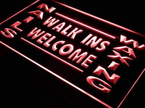 Nails Waxing Walk Ins Welcome LED Neon Light Sign - Way Up Gifts