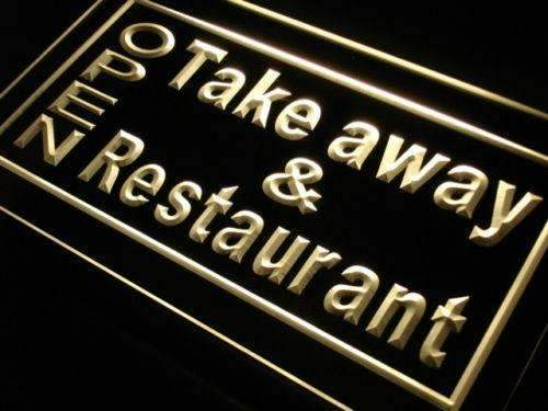 Open Take Away Carry Out Restaurant LED Neon Light Sign - Way Up Gifts