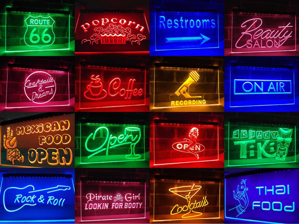 Open Tiki Bar LED Neon Light Sign  Business > LED Signs > Beer & Bar Neon Signs - Way Up Gifts