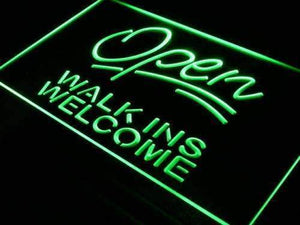 Open Walk Ins Welcome Barber Shop Hair Salon Neon Sign (LED)-Way Up Gifts