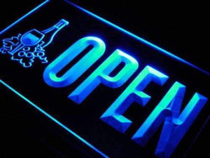 Open Winery Wine Shop Neon Sign (LED)-Way Up Gifts