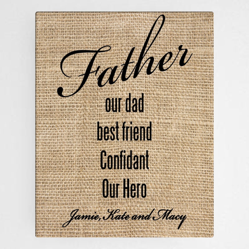 Personalized Our Dad Canvas Sign - Way Up Gifts