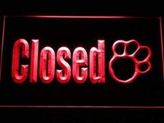 Paw Print Pet Shop Closed LED Neon Light Sign