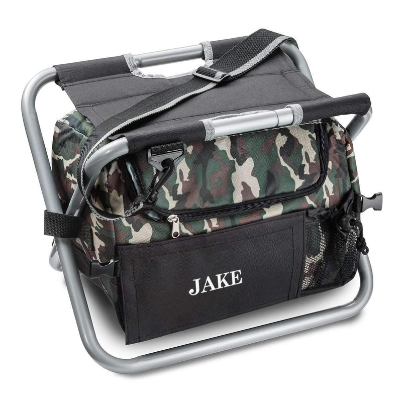 Personalized Camo Outdoor Folding Chair (Beer Cooler Seat) - Way Up Gifts