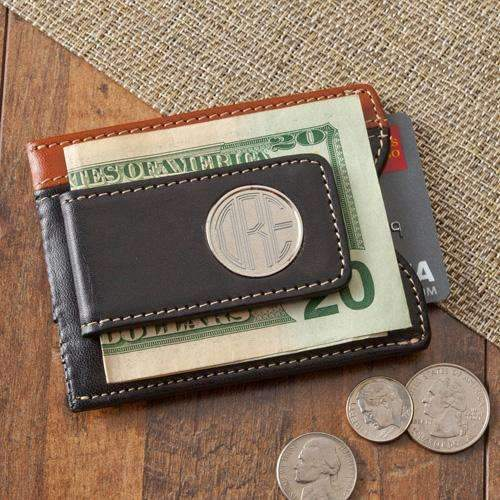 Personalized Dual Color Leather Card Holder & Money Clip Wallet Brown/Black Personalized Gifts - Way Up Gifts