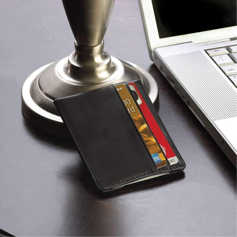 Personalized Luxury Black Leather Money Clip Wallet - Way Up Gifts