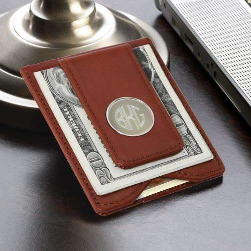 Personalized Luxury Brown Leather Money Clip Wallet Brown Personalized Gifts - Way Up Gifts