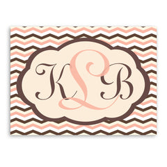 Personalized Pink and Brown Baby Chevron Canvas Sign