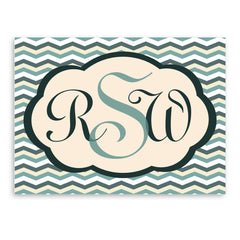 Personalized Bermuda Blue Baby Chevron Canvas Sign