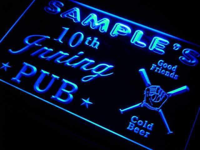 Personalized Baseball 10th Inning Pub LED Neon Light Sign - Way Up Gifts