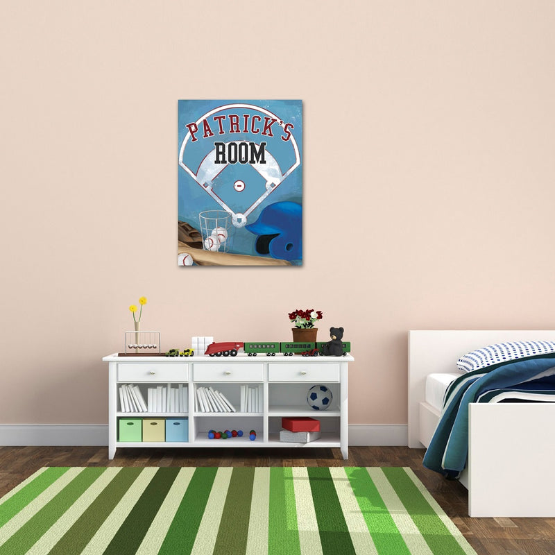 Personalized Kids Baseball Canvas Print Bedroom Sign - Way Up Gifts
