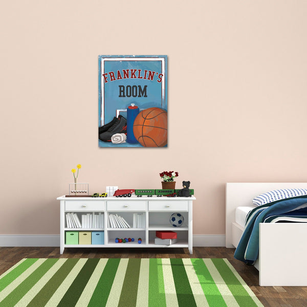 Personalized Kids Basketball Canvas Print Bedroom Sign